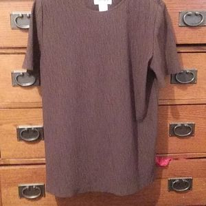 Vintage Worthington Sz Petite L Brown Blouse
